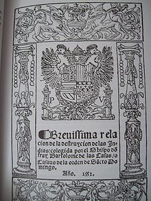 "De las Casas - ""Short Account of the Destruction of the Indies"" from 1552"