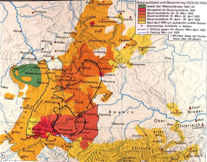 KARTE des Bauernkriegs im 16. Jahrhundert