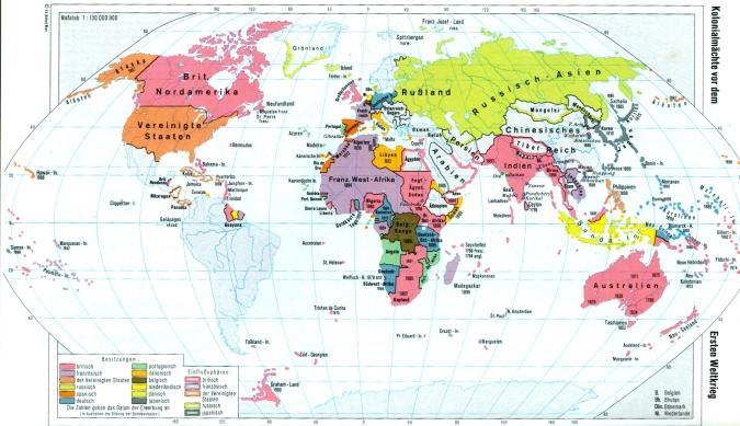 Kolonien der imperialistischen Mächte vor dem 1. Weltkrieg