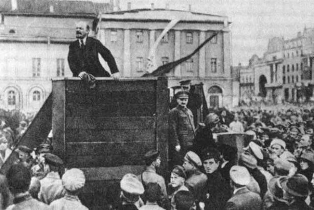 Lenin speaking at a rally in Petrograd