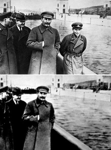 Stalin and Nikolai Yezhov, head of the Secret Service. After Yezhov was removed from office in 1938, he was not only executed, but was edited out of the image as well.